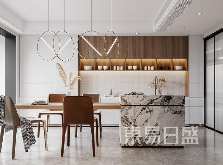 一楼只保留了用餐功能,餐桌和吧台的连动,做了一个能够让一家人交流和互动的格局,增添家人之间的交流