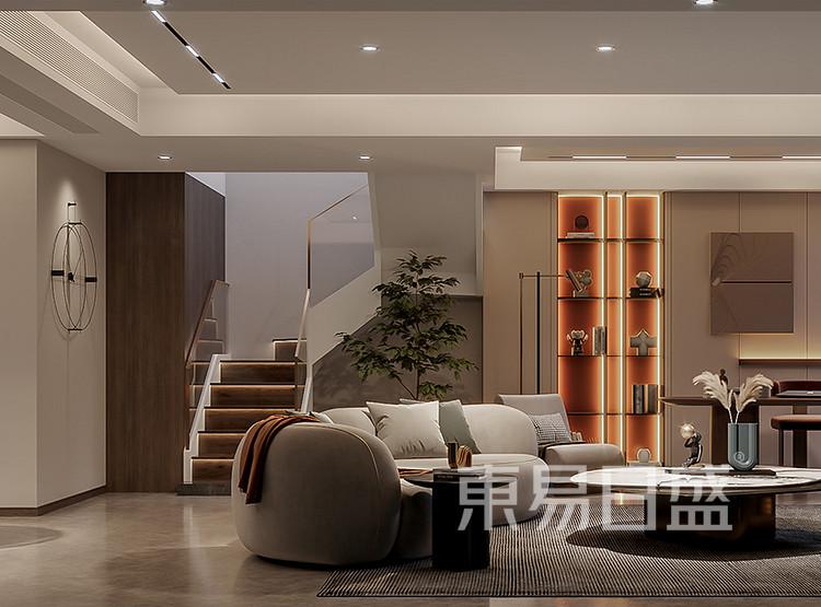 大面积用了比较高级的低彩度颜色作为墙面主色调,突出白色沙发的中心位置,形成对比,空间层次枫丰富而又有序,格调轻松而又稳重。无主灯照明,提升了空间的品质,改善了主人一家生活的舒适性!