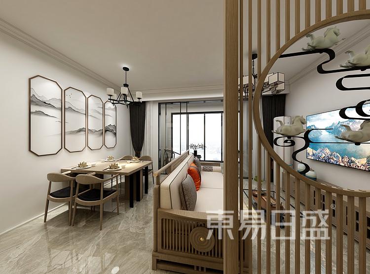 江杨家园100三居室现代轻奢风装修设计案例——客厅