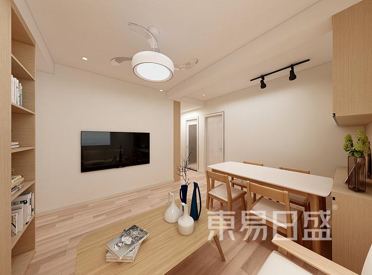 嘉邦小区100平日式风格三居室装修设计家装图——客厅