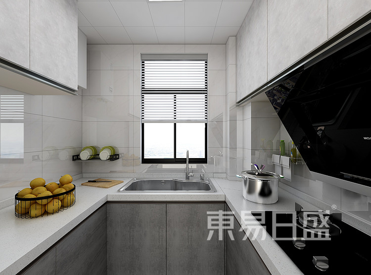 江杨家园120平三居室现代风格装修设计案例——厨房