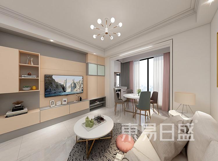 江杨家园75平三居室现代简约风格装修设计案例——客厅