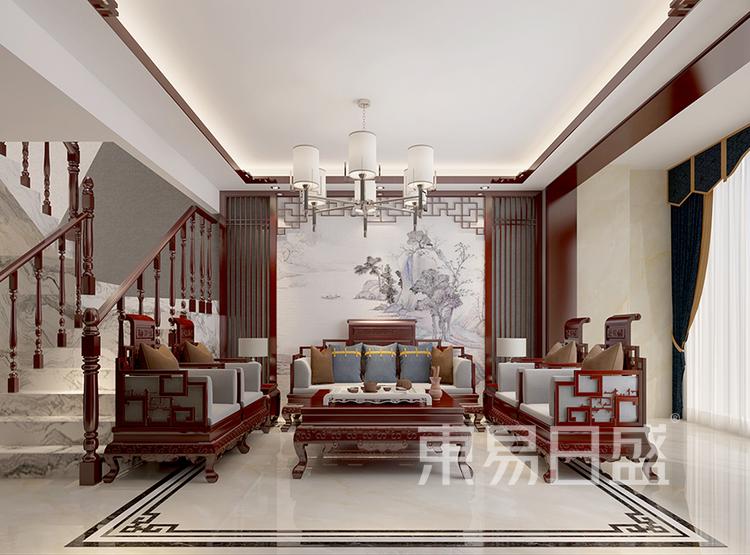 复式楼-中式风格-客厅装修效果图